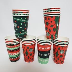 25 Starbucks Disposable Coffee Cups Tall 12 ounces